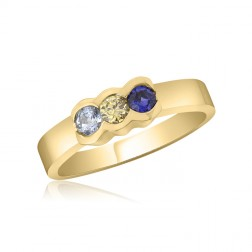 10K Yellow Gold Simple Mother's Ring – 3 Birthstone Family Ring