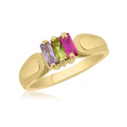 10K Yellow Gold Rectangle Stone Ring –  3 Birthstone Family Ring