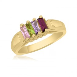 10K Yellow Gold Rectangle Stone Ring –  4 Birthstone Family Ring