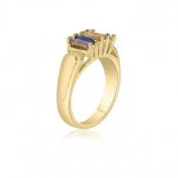 10K Yellow Gold Rectangle Stone Ring –  5 Birthstone Family Ring