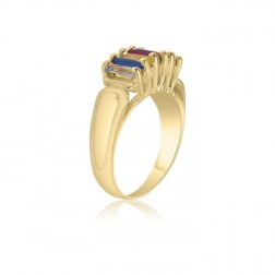 10K Yellow Gold Rectangle Stone Ring – 6 Birthstone Family Ring