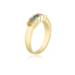 10K Yellow Gold Simple Mother's Ring – 5 Birthstone Family Ring