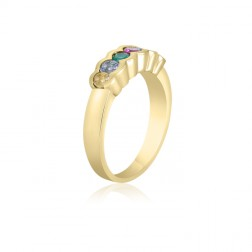 10K Yellow Gold Simple Mother's Ring – 6 Birthstone Family Ring