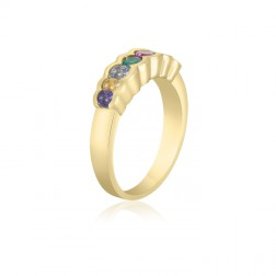 10K Yellow Gold Simple Mother's Ring – 7 Birthstone Family Ring