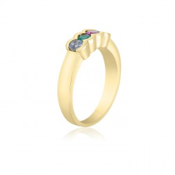 10K Yellow Gold Simple Mother's Ring – 4 Birthstone Family Ring