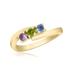 10K Yellow Gold Mother's Day Ring –  3 Birthstone Family Ring