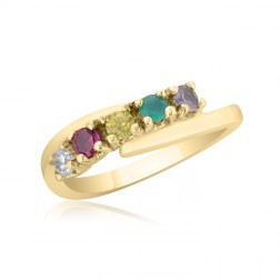 10K Yellow Gold Mother's Day Ring –  5 Birthstone Family Ring