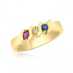 10K Yellow Gold Beautiful Ring – 3 Birthstone Family Ring