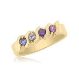 10K Yellow Gold Beautiful Ring – 4 Birthstone Family Ring