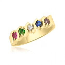 10K Yellow Gold Beautiful Ring – 5 Birthstone Family Ring