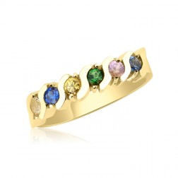 10K Yellow Gold Beautiful Ring – 6 Birthstone Family Ring