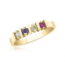 10K Yellow Gold Stunning Ring – 4 Birthstone Family Ring
