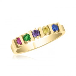 10K Yellow Gold Stunning Ring – 5 Birthstone Family Ring