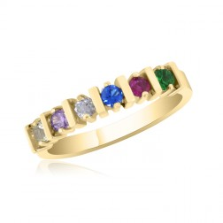 10K Yellow Gold Stunning Ring – 6 Birthstone Family Ring