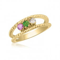 10K Yellow Gold Twisted Rope Ring – 3 Birthstone Family Ring
