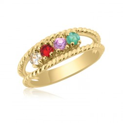 10K Yellow Gold Twisted Rope Ring – 4 Birthstone Family Ring