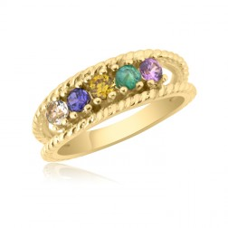 10K Yellow Gold Twisted Rope Ring – 5 Birthstone Family Ring