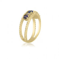 10K Yellow Gold Twisted Rope Ring – 6 Birthstone Family Ring