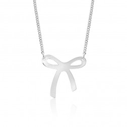 10K White Gold Bow Pendant