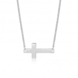 10K White Gold Sideways Cross Pendant