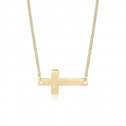 10K Yellow Gold Sideways Cross Pendant