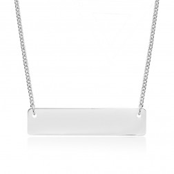 Small 10K White Gold Horizontal Bar Pendant
