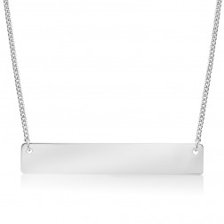 Large 10K White Gold Horizontal Bar Pendant