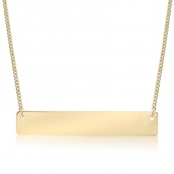Large 10K Yellow Gold Horizontal Bar Pendant