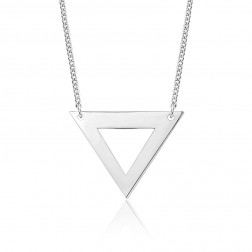Large 10K White Gold Triangle Pendant