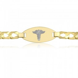 Men's 10K Two Tone Medical Bracelet