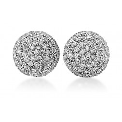 Sterling Silver Half Ball Cubic Earrings