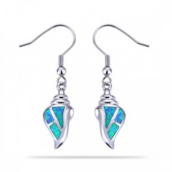 Blue Opal Conch Shell Earrings in Sterling Silver