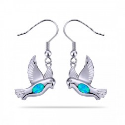 Blue Opal Dove Earrings