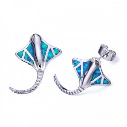 Blue Opal Sting Ray Stud Earrings - Sterling Silver
