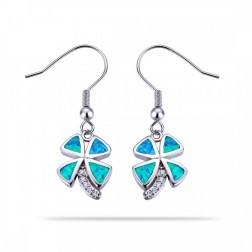Blue Opal Shamrock Earrings in Sterling Silver