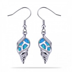 Sterling Silver Conch Shell Earrings with Blue Opal and CZ