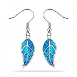 Sterling Silver Leaf Earrings with Blue Opal