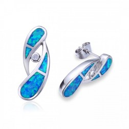 Blue Opal and CZ Raindrop Stud Earrings