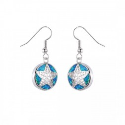 Sterling Silver and Blue Opal Starfish Drop Earrings