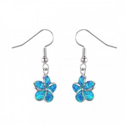 Blue Opal Hibiscus Flower Earrings in Sterling Silver