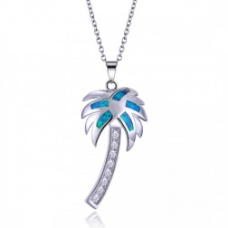 Sterling Silver Palm Tree Pendant with Blue Opal and CZ