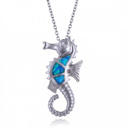 Blue Opal and Sterling Silver Seahorse Pendant