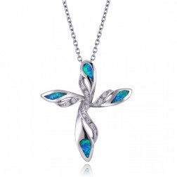 Blue Opal and CZ Cross Pendant in Sterling Silver