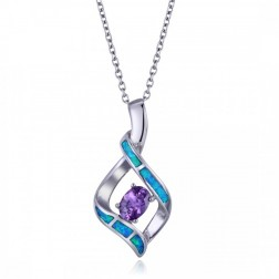 Elegant Blue Opal and Purple Oval-Cut Amethyst Pendant in Sterling Silver