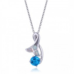 Whale Tail - Mermaid Tail Pendant in Sterling Silver and White Opal with Round-Cut Blue Topaz