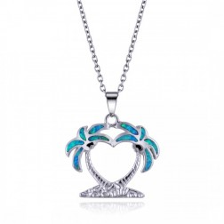 Double Palm Tree Heart Pendant in Sterling Silver and Blue Opal