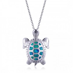 Sterling Silver and Blue Opal Sea Turtle Pendant