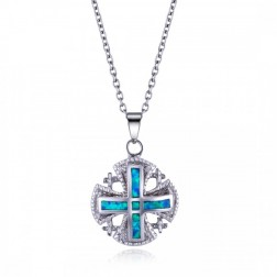 Roman Cross in Blue Opal and Sterling Silver