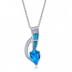 Aquamarine and Blue Opal Pendant in Sterling Silver