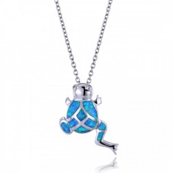 Blue Opal and sterling Silver Tree Frog Pendant